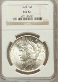 Peace Dollars, 1922 $1 MS62 NGC. NGC Census: (5581/160886). PCGS Population(9300/99901). Mintage: 51,737,000. Numismedia Wsl. Price for p...