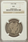 Barber Half Dollars, 1914 50C Good 6 NGC. NGC Census: (66/246). PCGS Population(185/720). Mintage: 124,300. Numismedia Wsl. Price for problem f...
