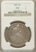Seated Dollars, 1870 $1 Fine 12 NGC. NGC Census: (4/178). PCGS Population (3/263).Mintage: 415,000. Numismedia Wsl. Price for problem free...