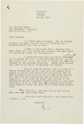 Baseball Collectibles:Others, 1940 Ty Cobb Signed Typed Letter from the Hayward Binney Archive....