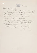 Autographs:Others, 1939 Ty Cobb Handwritten Signed Letter re: Opening of Baseball Hallof Fame from the Hayward Binney Archive....
