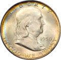 Franklin Half Dollars: , 1950-D 50C MS65 Full Bell Lines PCGS. PCGS Population (602/51). NGCCensus: (171/7). Numismedia Wsl. Price for problem fre...