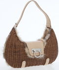 Luxury Accessories:Bags, Salvatore Ferragamo Fur and Wicker Shoulder Bag. ...