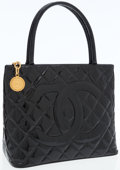 Luxury Accessories:Bags, Chanel Black Patent Leather Medallion Tote Bag with Gold Hardware. ...