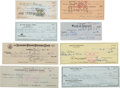 Autographs:Checks, 1950's-90's Hall of Famers Signed Checks Lot of 8....