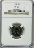 Proof Jefferson Nickels: , 1938 5C PR65 NGC. NGC Census: (322/632). PCGS Population(771/1016). Mintage: 19,365. Numismedia Wsl. Price for problemfre...