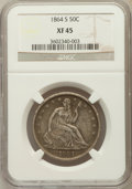Seated Half Dollars, 1864-S 50C XF45 NGC. NGC Census: (3/30). PCGS Population (14/32).Mintage: 658,000. Numismedia Wsl. Price for problem free ...