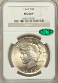 Peace Dollars: , 1923 $1 MS66+ NGC. CAC. NGC Census: (2889/89). PCGS Population(1665/46). Mintage: 30,800,000. Numismedia Wsl. Price for pr...