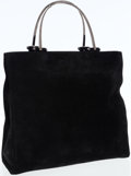 Luxury Accessories:Bags, Gucci Black Suede Tote with Silver Top Handles. ...