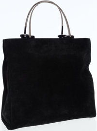 Gucci Black Suede Tote with Silver Top Handles