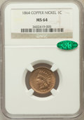 Indian Cents: , 1864 1C Copper-Nickel MS64 NGC. CAC. NGC Census: (397/127). PCGSPopulation (490/132). Mintage: 13,740,000. Numismedia Wsl....
