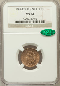 1864 1C Copper-Nickel MS64 NGC. CAC. NGC Census: (397/127). PCGS Population (490/132). Mintage: 13,740,000. Numismedia W...