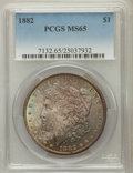 Morgan Dollars: , 1882 $1 MS65 PCGS. PCGS Population (1242/206). NGC Census:(1155/251). Mintage: 11,101,100. Numismedia Wsl. Price for probl...