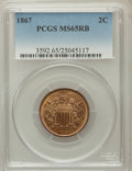 Two Cent Pieces: , 1867 2C MS65 Red and Brown PCGS. PCGS Population (55/2). NGCCensus: (80/15). Mintage: 2,938,750. Numismedia Wsl. Price for...