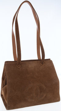 Chanel Brown Suede Carryall Bag with CC Logo