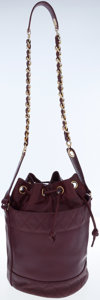 Luxury Accessories:Bags, Chanel Burgundy Leather Drawstring Bucket Bag with Shoulder Strap....