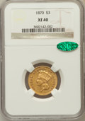 Three Dollar Gold Pieces, 1870 $3 XF40 NGC. CAC....