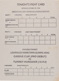 1960 Cassius Clay (Muhammad Ali) First Professional Fight Card Program
