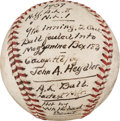 Baseball Collectibles:Balls, 1937 World Series Game Two Used Baseball Caught by John Heydler....