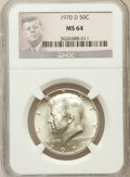 Kennedy Half Dollars: , 1970-D 50C MS64 NGC. NGC Census: (1113/943). PCGS Population(1219/2054). Mintage: 2,150,000. Numismedia Wsl. Price for pro...