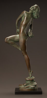 HARRIET WHITNEY FRISHMUTH (American, 1880-1980) Laughing Waters, 1929 Bronze with weathered green pa