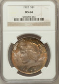 Peace Dollars: , 1922 $1 MS64 NGC. NGC Census: (78884/15784). PCGS Population(41265/6342). Mintage: 51,737,000. Numismedia Wsl. Price for p...