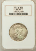 Franklin Half Dollars: , 1963-D 50C MS65 NGC. NGC Census: (2655/70). PCGS Population(1051/23). Mintage: 67,069,292. Numismedia Wsl. Price for probl...