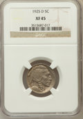 Buffalo Nickels: , 1925-D 5C XF45 NGC. NGC Census: (9/566). PCGS Population (24/820).Mintage: 4,450,000. Numismedia Wsl. Price for problem fr...