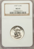 Washington Quarters, 1947-S 25C MS65 NGC. NGC Census: (1253/2783). PCGS Population(2064/1793). Mintage: 5,532,000. Numismedia Wsl. Price for pr...