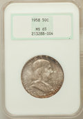 Franklin Half Dollars: , 1958 50C MS65 NGC. NGC Census: (2091/971). PCGS Population(2562/1538). Mintage: 4,000,000. Numismedia Wsl. Price for probl...
