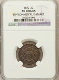 Two Cent Pieces, 1872 2C -- Environmental Damage -- NGC Details. AU. NGC Census:(6/61). PCGS Population (20/87). Mintage: 64,000. Numis...