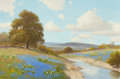 Texas:Early Texas Art - Regionalists, PORFIRIO SALINAS (American, 1910-1973). Bluebonnets on the RiverBank. Oil on canvas. 36 x 24 inches (91.4 x 61.0 cm). S...