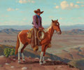 Texas, FRED DARGE (American, 1900-1978). Cowboy and Horse onHilltop. Oil on canvas board. 19-1/2 x 24 inches (49.5 x 61.0cm)...