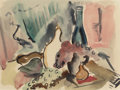 Texas:Early Texas Art - Modernists, VERONICA HELFENSTELLER (American, 1910-1964). Still Life withBottles and Fruit, circa 1945. Watercolor on paper. 8 x 10...