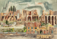 BROR ALEXANDER UTTER (American, 1913-1993) Palatine Hills, 1955 Watercolor on paper 18 x 26 inch