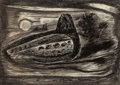 Texas:Early Texas Art - Drawings & Prints, EVERETT FRANKLIN SPRUCE (American, 1908-2002). Night Bird,1941. Litho crayon on paper . 9-3/4 x 13-7/8 inches (24.8 x 3...
