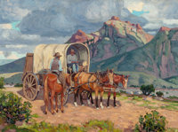 FRED DARGE (American, 1900-1978) Pit Stop in the Plains Oil on canvas board 18 x 24 inches (45.7