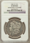 Morgan Dollars, 1882-CC $1 -- Improperly Cleaned -- NGC Details. VF. NGC Census: (10/14031). PCGS Population (30/27330). Mintage: 1,133...