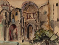 Texas:Early Texas Art - Drawings & Prints, VERONICA HELFENSTELLER (American, 1910-1964). Cuernavaca Cathedral. Watercolor on paper. 7 x 9-1/4 inches (17.8 x 23.5 c...