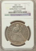 Seated Dollars, 1843 $1 -- Improperly Cleaned -- NGC Details. Fine. NGC Census:(3/394). PCGS Population (4/479). Mintage: 165,100. Num...