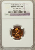 Proof Lincoln Cents, 1936 1C Type Two Brilliant Finish -- Damaged -- NGC Details. Proof.NGC Census: (0/33). PCGS Population (0/4). Mintage:...