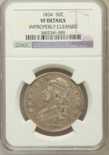 Bust Half Dollars, 1834 50C Large Date, Large Letters -- Improperly Cleaned -- NGCDetails. VF. NGC Census: (18/2197). PCGS Population (2/...