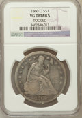 Seated Dollars, 1860-O $1 -- Tooled -- NGC Details. VG. NGC Census: (0/768). PCGSPopulation (3/1204). Mintage: 515,000. Numismedia Wsl...