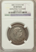 Coins of Hawaii, 1883 50C Hawaii Half Dollar -- Improperly Cleaned -- NGC Details.XF. NGC Census: (39/347). PCGS Population (82/497). ...