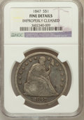 Seated Dollars, 1847 $1 -- Improperly Cleaned -- NGC Details. Fine. NGC Census:(1/403). PCGS Population (3/539). Mintage: 140,750. Num...