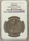 Seated Dollars, 1860-O $1 -- Improperly Cleaned -- NGC Details. VF. NGC Census:(7/749). PCGS Population (12/1174). Mintage: 515,000. Numis...