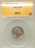 Buffalo Nickels: , 1921-S 5C VG8 ANACS. NGC Census: (60/844). PCGS Population(93/1325). Mintage: 1,557,000. Numismedia Wsl. Price for problem...