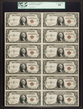 Small Size:World War II Emergency Notes, Fr. 2300 $1 1935A Hawaii Silver Certificate Uncut Sheet. PCGS VeryChoice New 64.. ...