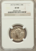 Standing Liberty Quarters, 1917-D 25C Type Two XF40 NGC. NGC Census: (6/445). PCGS Population(10/686). Mintage: 6,224,400. Numismedia Wsl. Price for ...