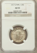 Standing Liberty Quarters, 1917-S 25C Type One AU55 NGC. NGC Census: (18/205). PCGS Population(44/405). Mintage: 1,952,000. Numismedia Wsl. Price for...